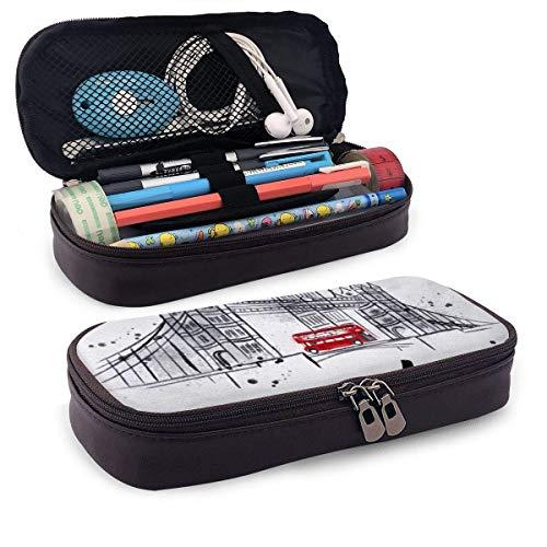 Pencils Pens Pouch London Handmalerei mit Red Bus Pu Leder Pencil Case Bag, langlebige große...