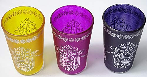 Set kenta 3 Vasos marroquies para el té con Dibujo Tradicional Mano...