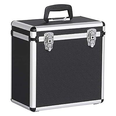 Yaheetech 12 Inch lp Case Vinyl Record Storage Carry Box DJ Flight Case Holds up to 50pcs Black