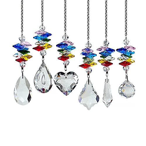 Cadena de regalo del colgante de cristal de cristal K9 6 estilos, colgante de cristal colorido, longitud de la cadena 9.8 pulgadas, colgante Cadena de flores colorida Regalo de nacimiento / graduación