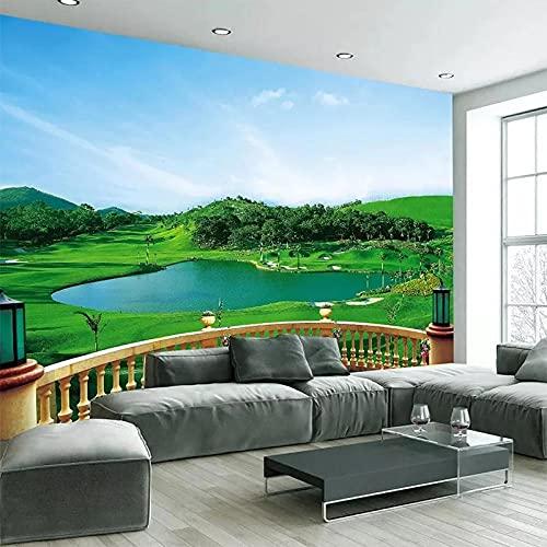 3D Estéreo Balcón Campo De Golf Verde Tela De Pared Impermeable Sala De Estar Fondo De Sala Decoración De Pared Papel Tapiz Mural