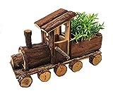 Spetebo - Trenino decorativo con piccola fioriera – 40 cm – Treno in legno con vaso per fiori per decorazione giardino