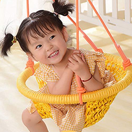 FOGUO Handstrickendes Kleinkind Runde Vogelnestschaukel,Schaukelsitz für Kinder mit Verstellbaren Seilen, Kleine Schaukel, für Outdoor Indoor, Spielplatz, Hinterhof,Yellow