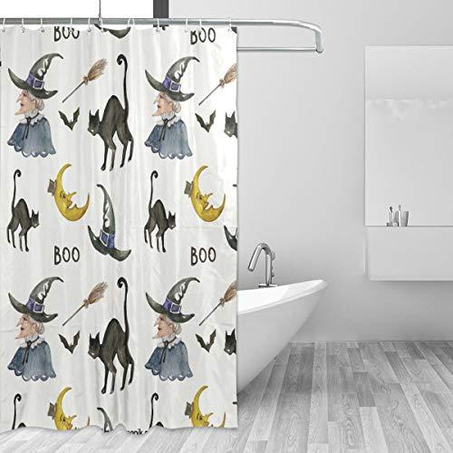 MONTOJ Cartoon Katze & Hexe Home Decor Duschvorhang, Badevorhang, Stoff, Badezimmer-Dekorationsset mit Haken, 177,8 cm, langlebig & superwasserdicht, 1 Panel, 183 x 183 cm