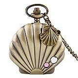 WOAIXI Orologio da Tasca Retro,Fashion Mermaid Shell Pocket Watch Unico Metallo Lucido Capesante Custodia Crystal Pendant Collana Orologio Shell Accessorio