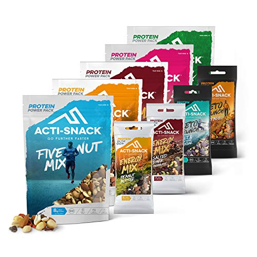 ACTI-SNACK Power-Up Snack Bundle. Healthy Snacks. Natural Nut Mixes, Energy Trail Mixes and Keto Snacks. High in Plant Protein. Vegan. Mixed Case