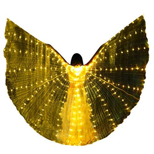 Fantastic Deal! Becobe Yellow Adult LED Butterfly Wings, Glowing Light Up Wings with Telescopic Stic...