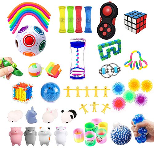 DAIYU 52 pcs Sensory Fidget Toys Set, Stress Balls Toy for Adults and Kids Exercise Attention Stress Anxiety Relief, Treasure Chest Toys Pack, Tangle Fidget Toys Box