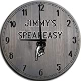 Large Wall Clock 24 Inch Retro Speakeasy Downstairs Basement Enterance Man Cave Wall Decor Barnwood Gray Wall Decor