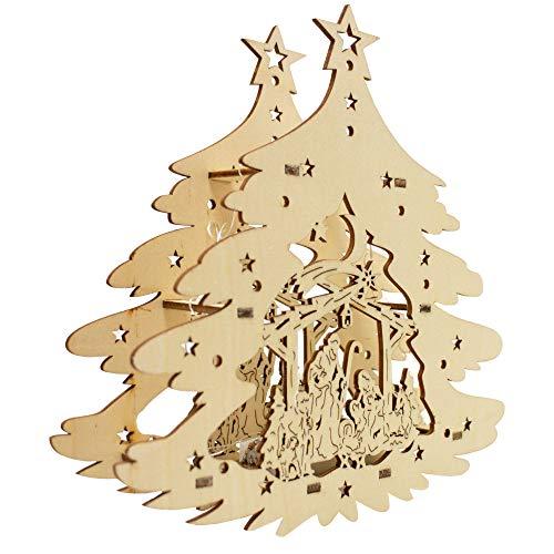 Krippenhandel LED-Fensterbild Holz Weihnachtsbaum-Motiv 3D-Effekt Weihnachten Dekoration Fensterbank Fenster Tisch Deko