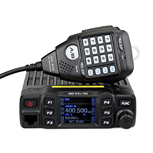 Retevis RT95 Mobile Radio Dual Band Transceiver VHF 136-174 MHz UHF 430-490 MHz Color LCD Mobile Two Way Radio with DTMF Function (Black, 1 Pack)