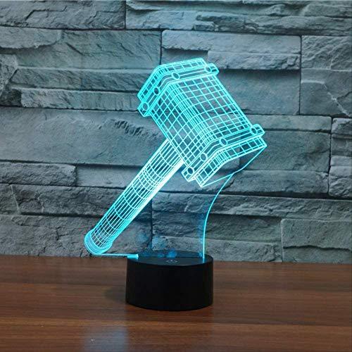 Luz De Noche 3D 7 Colores Cambiantes Thor Lámpara De Noche De Dormitorio Lámpara De Modelado De Martillo 3D Lámpara De Sueño Con Batería Regalos De Navidad De Cumpleaños