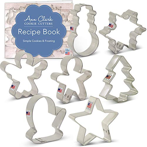 Ann Clark Cookie Cutters 7-Piece Mini Christmas Cookie Cutter Set with Recipe Booklet, Mini Christmas Tree, Mini Snowman, Mini Angel, Mini Mitten, and More