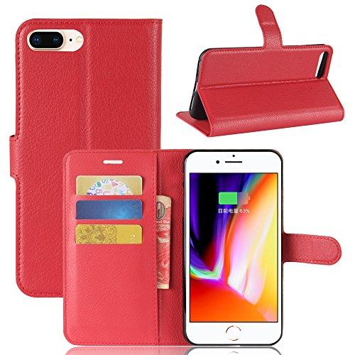 XZDWH Para iPhone 8 Plus Caso, para iPhone 7 Plus Caso, PU Cuero con titular de tarjeta de crédito Funda delgada Cartera Flip con soporte Funda Funda protectora para iPhone 8 Plus/iPhone 7 Plus (rojo)