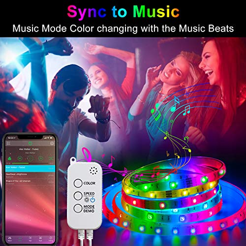 HRDJ Led Strip Lights 66 Feet, Music Sync Color Changing Led Light Strip 5050 SMD Flexible Rope Lights with Remote App Control Led Lights for Bedroom 3