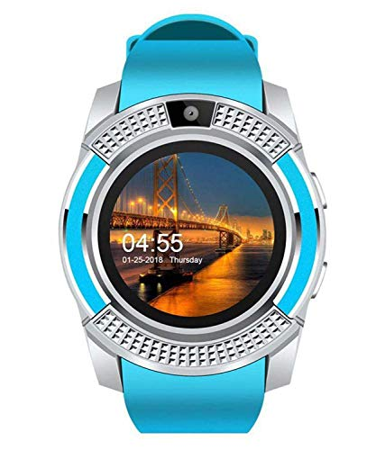 AJO V8 Sports Smartwatch Bluetooth 4.0 Message Push, Sedentary Reminder, Pedometer, Sleep Monitoring Wristband for iOS/Android Phone (Blue)
