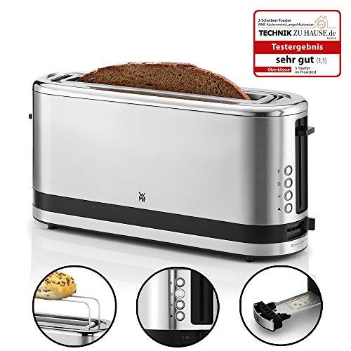 WMF Kitchenminis Tostadora de ranura larga, potencia de 900 W, acero Cromargan, apta para cualquier tipo de pan, con 4 funciones y con diferentes niveles de tueste