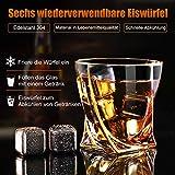 Hotrose Whiskeygläser Set, Geburtstagsgeschenk Set für Männer und Frauen, Kristall Wein Tassen Geschenkset mit 2 Gläsern, 6 Eiswürfelsteinen, 1 Gummizange - 3