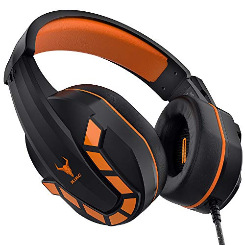 Kikc PS-4 Gaming Headset for PS4&XBOX ONE,3.5mm Gaming Headphones with Flexible Microphone & Volume Control for PC,Mac,Laptop,Nintendo Switch,Video Game,(Black+Orange)