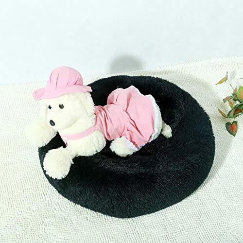 (enlace de pedido VIP) Cama de peluche larga suave para perro Cat Gato Invierno Cálido Sofá Sofá Casa Colchón para pequeños perros de mascotas grandes Perritos mullidos ( Color : Black , Size : 90cm )