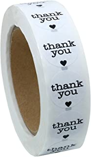 Hybsk Thank You Stickers with Black Heart 1 Inch Round 1,000 Adhesive Labels Per Roll (Black Heart)