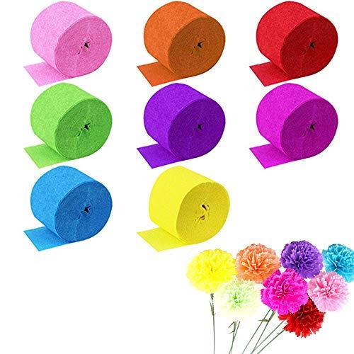 Nuluxi Regenbogen Kreppbänder Rollen Seidenpapier Party Dekorative DIY Papier Luftschlangen 8 Farben Crepe Paper Creppapier für Hochzeit Taufe Party Geburtstagsfeier Weihnachten Dekoration (8 Rollen)