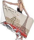 Toalla de Playa Grande 80x130cm,Francia Paris Vintage Retro,Toalla Microfibra,Suave,Absorbente Viaje Toallas de Mano de Hombres,Niños,Natación,Playa,Camping