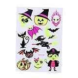 BESTOYARD Tatuajes temporales Maquillaje de Halloween para niños y niñas Calabaza Fluorescente Fantasma y murciélago Tatuajes artísticos Pegatinas Creativas (038)