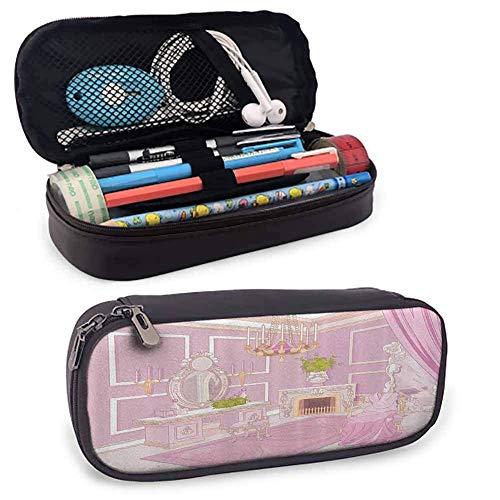 Teen Girls Collection Stifte und Bleistifte Fall Prinzessin Ankleidezimmer im Palast Luxuriös mit Kronleuchter Kamin Doppelreißverschluss