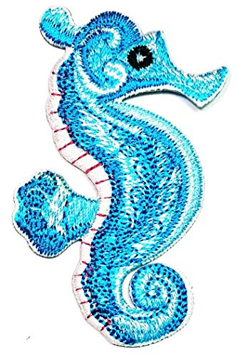 Blue Seahorse sea Horse Fish Cartoon Iron on Patch Sticker Handmade Fashion Embroidery for Clothing Polo T- Shirt Jackets Hat Backpacks or Birthday Gifts
