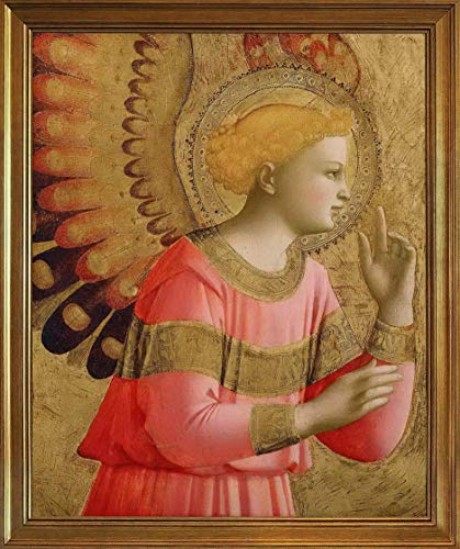 Berkin Arts Fra Angelico Classic Framed Giclee Print On Canvas-Famous Paintings Fine Art Poster-Reproduction Wall Decor(Annunciatory Angel) #JK