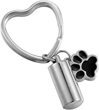 HooAMI Puppy Dog Paw Cylinder Pet Cremation Urn Keychain Keepsake Memorial Ashes Stainless Steel Heart Keyring