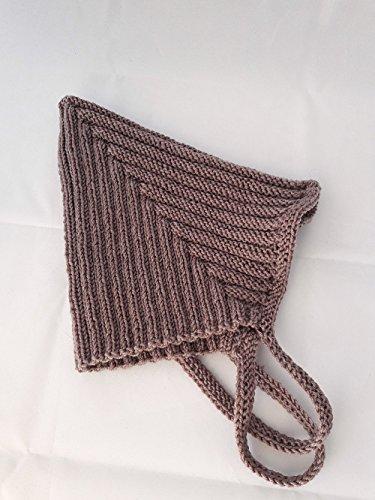 Babymütze, Zwergenmütze, Pixie-Mütze, handgestrickt, Schurwolle (Merino) - Gr. 0-6 Monate in dunkel beige