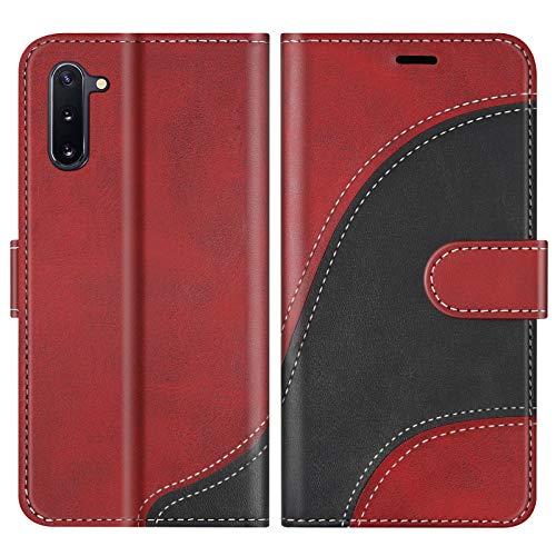 BoxTii Hülle für Galaxy Note 10 / Galaxy Note 10 5G, Leder Handyhülle für Samsung Galaxy Note 10 / Galaxy Note 10 5G, Ledertasche Klapphülle Schutzhülle mit Kartenfächer & Magnetverschluss, Rot