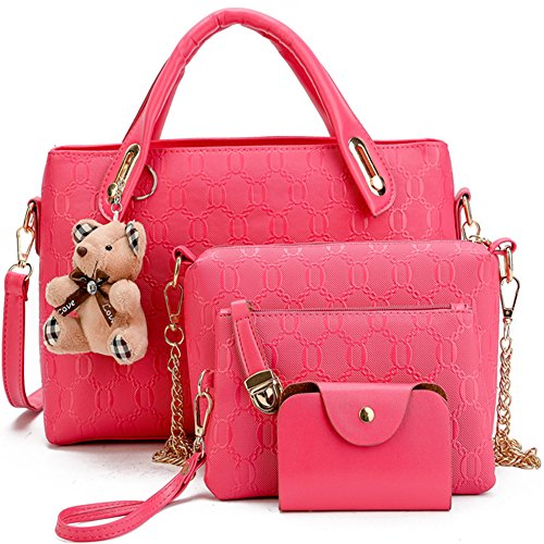 FiveloveTwo Women 4Pcs Top Handle Satchel Hobo PU Leather Handbag Set Large Tote + Purse + Shoulder Bag + Card Holder Rose