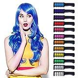 tiza para el cabello, temporales de cabello Tinte - 12 Colores, Tiza de Pelo, Color de pelo Temporal Hair Chalk Set para Niños Regalos Navidad Fiestas Cosplay DIY