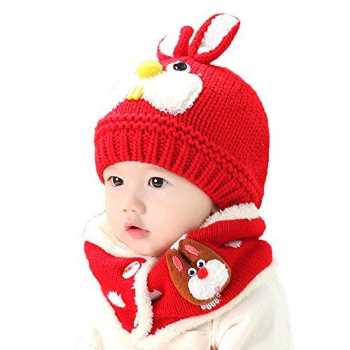 Automne et hiver Enfants Chapeau Nourrissons et jeunes enfants Cartoon Lapin Plus cachemire Laine Garder au chaud Chapeau Collier Fletion Bébé Chapeau Collier Set