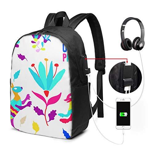 """WEQDUJG Mochila Portatil 17"""" Pulgadas Mochila Hombre Mujer con Puerto USB, Folk Otomi 221 Mochila para El Laptop para Ordenador del Trabajo Viaje"""