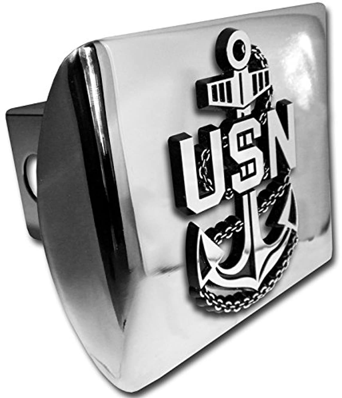 United State Navy Anchor emblem on chrome METAL Hitch Cover