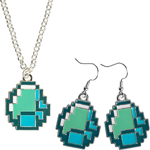 JINX Minecraft Diamond Ore Pendant Jewelry Pack (Necklace and Earring Set)