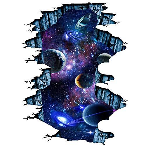 Martin Kench Kreative 3D Boden Aufkleber, Weltraum Planet Sterne Decke Aufkleber Wandtattoo Wandaufkleber Boden Sticker für Wohnzimmer Schlafzimmer (D#)