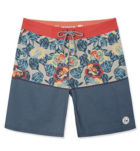 SURF CUZ Men's Vintage Cruzer Stretch Boardshort Chino Shorts (Poppy Floral - Orange, 32)