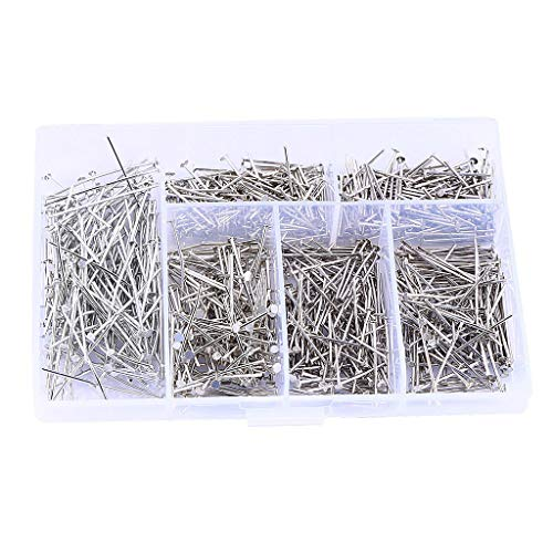 LoveinDIY Box of Stainless Steel T-Pins Set, Mixed 6 Sizes, Metal T Shaped Pins Bulk for Wigs,Sewing,Blocking and Knitting