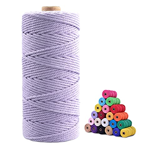 Macrame Cord,3mm x 328 Feet Cotton Twine String Cord,White Cotton Rope Craft String for DIY Knitting Plant Hangers Christmas Wedding Décor (Light Purple)