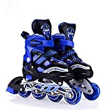 optimus adjustable inline roller skates - all pu wheels with aluminium-alloy front wheel with led lights - med size for age group 6-12 yrs (length 21.5 to 24.5 cm)-Blue