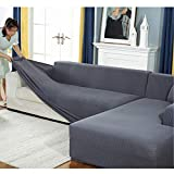 Stretch L Shape Sofa Covers, Sectional Sofa Cover, Anti-Skid Couch Shield with Elastic Straps Sofa Slipcover for L-Shape Couch Cover-a 4 Seats 235-300cm/93-118inch