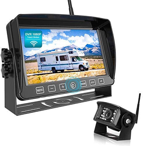 """Fookoo HD 1080P Wireless Backup Camera, 7"""" Dual/Quad Split Screen DVR Monitor with Touch Button, Supports 4 Cameras, IP69 Waterproof Parking Lines Suits for Furrion Pre-Wired RV/Trailer/Truck (DW701)"""