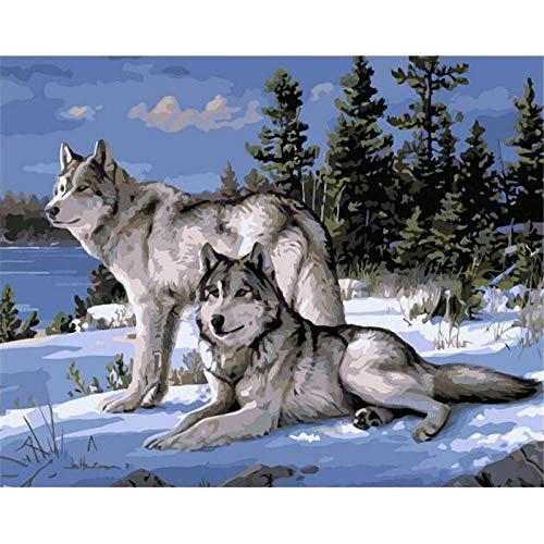 NRFGFQ Pintar por Numeros con Pinceles Y Pinturas para La Decoración del Hogar DIY Conjunto Completo De Pinturas Sin Marco Lobo Animal (16X20 Pulgadas, Sin Marco)