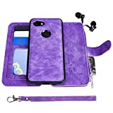 Google Pixel 3a Case, Modos Logicos [Detachable Wallet Folio][2 in 1][Zipper Cash Storage][Up to 14 Card Slots 1 Photo Window] PU Leather Purse with Removable Inner Magnetic TPU Case - Purple
