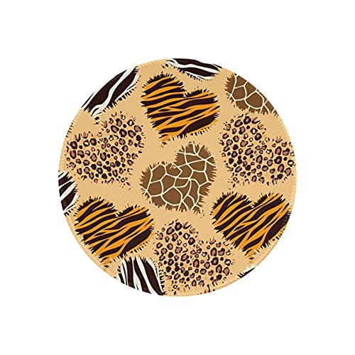 Round Animal Print Mouse Pad Mini Mousepad Funny Cute Heart Leopard Tiger Cheetah Zebra Printed Home Office Desk Accessories Decor Pads Circle Small Mat